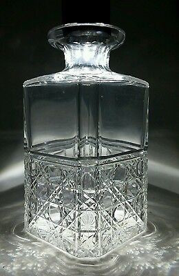 Rare Antique EDINBURGH CRYSTAL Cut Glass Decanter Hob and Lace 19thC