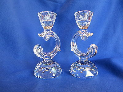 Swarovski Crystal Baroque Candle Holders (2) #121,variety 1, Retired And Rare