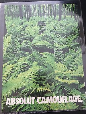 Absolut Camouflage ad-excellent condition for collector-hidden bottle in ferns