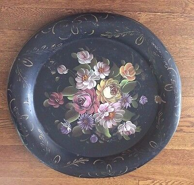 Vintage Hand Painted Round Tole Tray