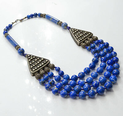 C490 Ancient style Necklace with 66 Natural Lapis Lazuli Beads 308.7g