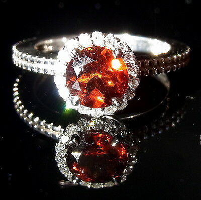 Diamond Madeira Citrine 14K White Gold Stand Alone or Stackable Ring Halo Orange