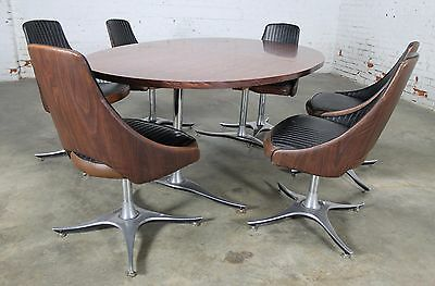 Mid Century Dinette Set with Aluminum Base Oval Double Pedestal Table 6 Chairs