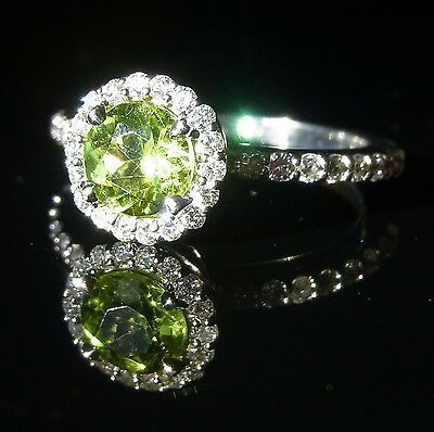 Green Peridot Diamonds 14K White Gold Stand Alone Stackable Ring Eternity Band