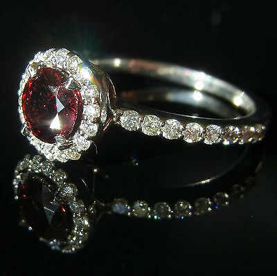 Garnet Diamond 14K White Gold Stand Alone or Stackable Ring Halo Eternity Band