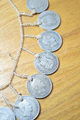 Vintage c.1940 Coin and Bead Necklace Columbian Silver 50 Centavos 4067