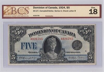 Dominion Of Canada 1924 $5, Campbell-Sellar, Series A, Check Letter B - F18