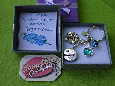 Personalised Teacher Thank you Forget Me Not Charm Rhinestone Apple Star Gift