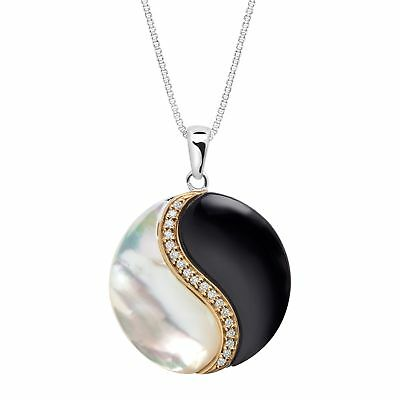 Onyx, Mother-of-Pearl & Diamond Yin Yang Pendant in Sterling Silver & 14K Gold
