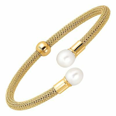 Honora Mesh Cuff Bracelet with Freshwater Pearls 18K Gold-Plated Sterling Silver