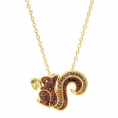 Crystaluxe Squirrel Pendant with Swarovski Crystals in 18K Gold-Plated Silver