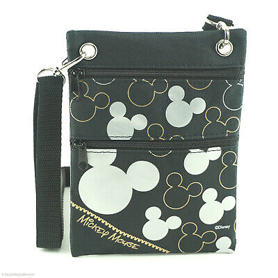 Mickey Mouse Silhouette Neck Pouch Wallet Small Black Travel Passport ID Holders