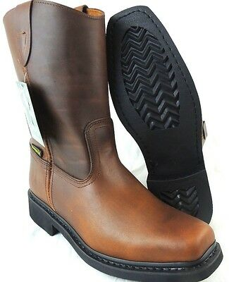 Men's Work Boots Genuine Leather Square Toe Rodeo Brown Cowboy Western