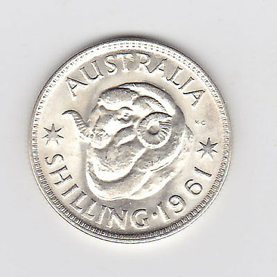 1961 (Unc) Australian Shilling (50% Silver) - Brilliant Coin - From Mint Roll