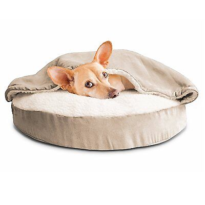Furhaven SNUGGERY BURROW PET BED Round Dog Cat FAUX-SHEEPSKIN CREAM- 66cm