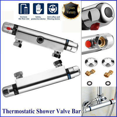New Chrome Thermostatic Bar Mixer Shower Valve Tap Bottom Outlet For ShowerHose