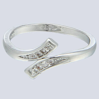 Womens Adjustable Sterling Silver Plated Cubic Zirconia Toering,free Post In Oz