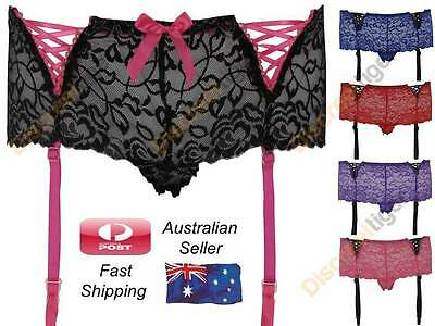 Sheer Stretch Lace Knickers Panties Womens Plus Size Underwear With Garter Strap