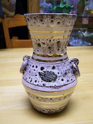 Vintage Rossini Original Hand Decorated Vase Italy Volcanic Glaze Mid Century