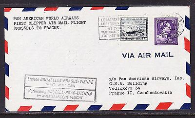 Belgium 1946 PANAM Clipper Brussels to Prague First  Flight Cover