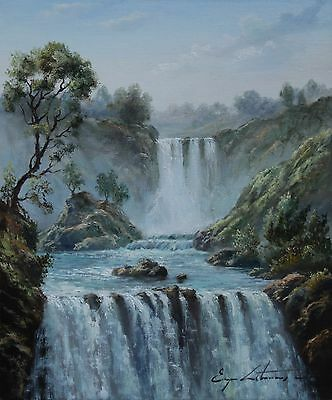 "Original Oil Painting On Canvas By J. LITVINAS - ""WATERFALL""  10X12 INCH"