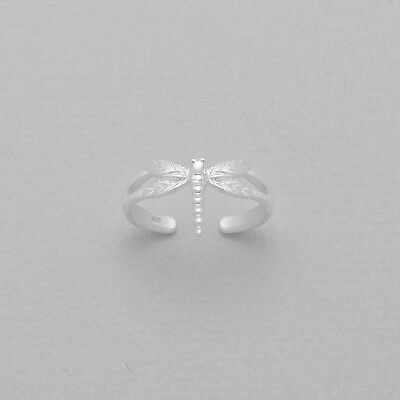 TJS 925 Sterling Silver Dragonfly Design Toe Ring Adjustable Body Jewellery