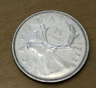 1953 Canada 25 Cents Silver