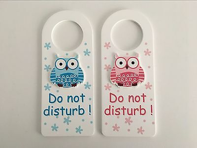 Wooden Baby Door Hanger Pink Blue Owl Nursery Boy Girl Sign Do Not Disturb