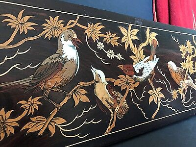 Old Asian Inlaid Wooden Wall Hanging …beautiful detail and patina