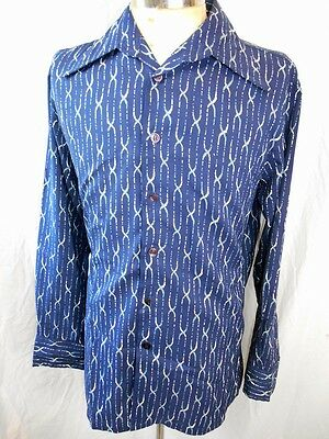 Vintage 1970s Blue Patterned Polyester Touch Of Silk Disco Dress Shirt L Groovy