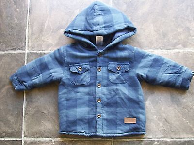 Baby Boy's Blue Checks Padded Hooded Flannelette Shirt Size 0 VGUC