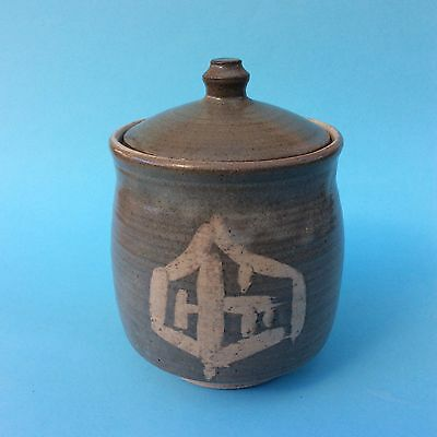 VINTAGE AUSTRALIAN STUDIO POTTERY Lidded Tea Caddy Sugar Jar Signed SJ Oriental