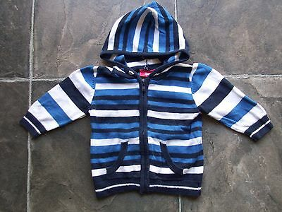 Baby Boy's Sprout Blue & White Stripes Knitted Cotton Hooded Jacket Size 00 VGUC