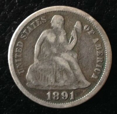 1891 Liberty Seated One Dime US USA Silver Coin
