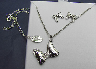 Disney Minnie Mouse silver bow necklace / pendant & earring set Genuine GIFT