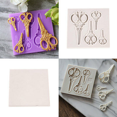 Silicone Gold Tools Scissors Shaped Cupcake Fondant Cake Cake Molds Tools