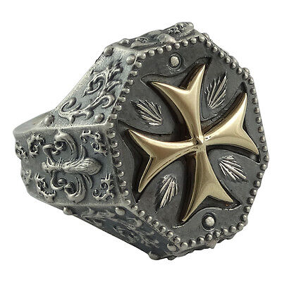 Knights templar maltese cross biker Gold 10K and Silver 925 men's ring US Sizes