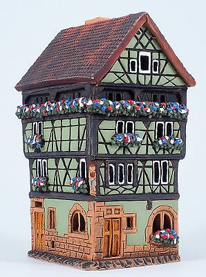 "Handmade Midene ceramic candle holder ""House in Colmar, France"" (A249)"