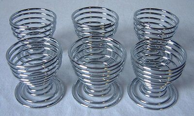 6 Egg Cups Chrome Plated  Set Spring Wire Spiral Stylish  Stand Holder (1689)