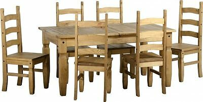 Corona Extending Dining Set (1+6) Distressed Waxed Pine