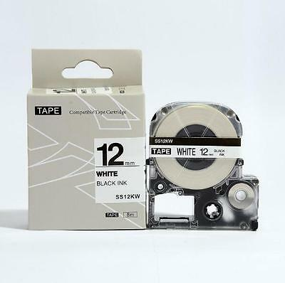 Epson LabelWorks 12mm x 8m Black on White Compatible Label Tape LK-4WBN