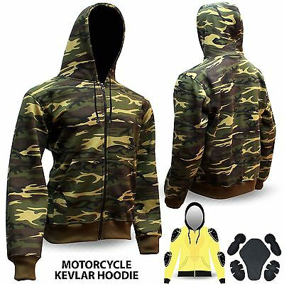 Motorcycle Hoodie Hoody Ful Kevlar Armored Lined Fleece Ultimate Protection Camo