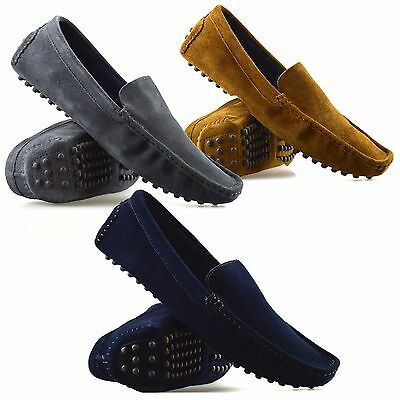 Mens New Leather Suede Slip On Casual Mocassin Designer Loafer Driving Shoe Size