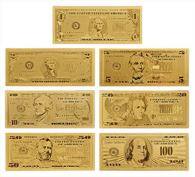 USD Dollar 24K Gold Banknotes Money American Gift Golden Amazing Mint $$$ [NEW]