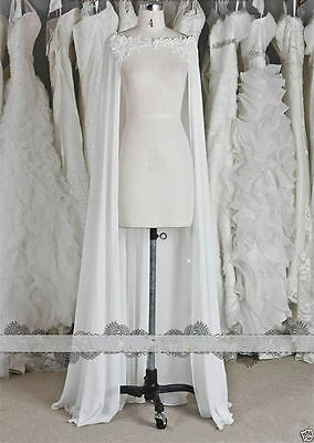 White/ivory Chiffon Wraps Wedding Jacket Bridal Cloak Lace Bridal Dress's Cape