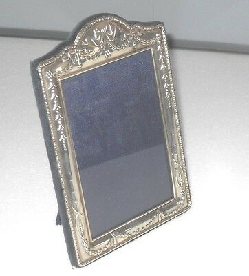 Very Stylish Embossed Sterling Silver Easel Photo Picture Frame Antique