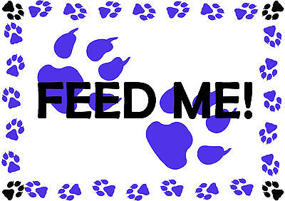 Feed Me Pet Cat Dog A4 Feeding Food Mat - Laminated Card - Easy Wipe Clean