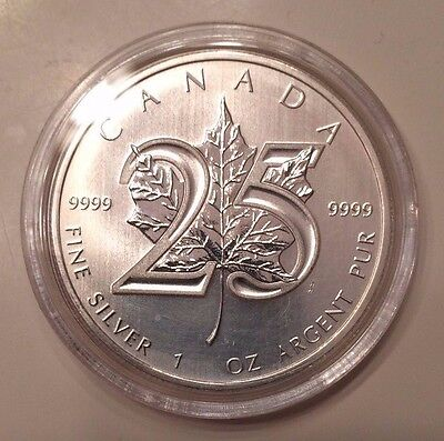 2013 - 25th Maple Leaf Anniversary 1 oz Pure .9999 Silver Coin Canada