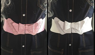 Womens Fashion Butterfly Bowknot Bow Elastic Wide Stretch Buckle Waistband Belt