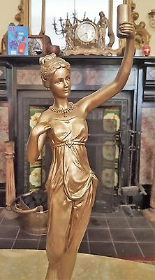 Art deco Large Junghans style lady diana figurine statue gold 49 cm tall